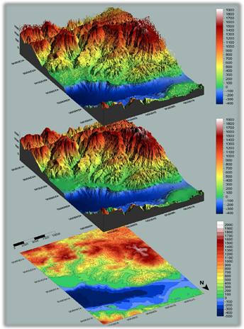 Digital Terrain Model, Digital Surface Model, and Digital Elevation Model