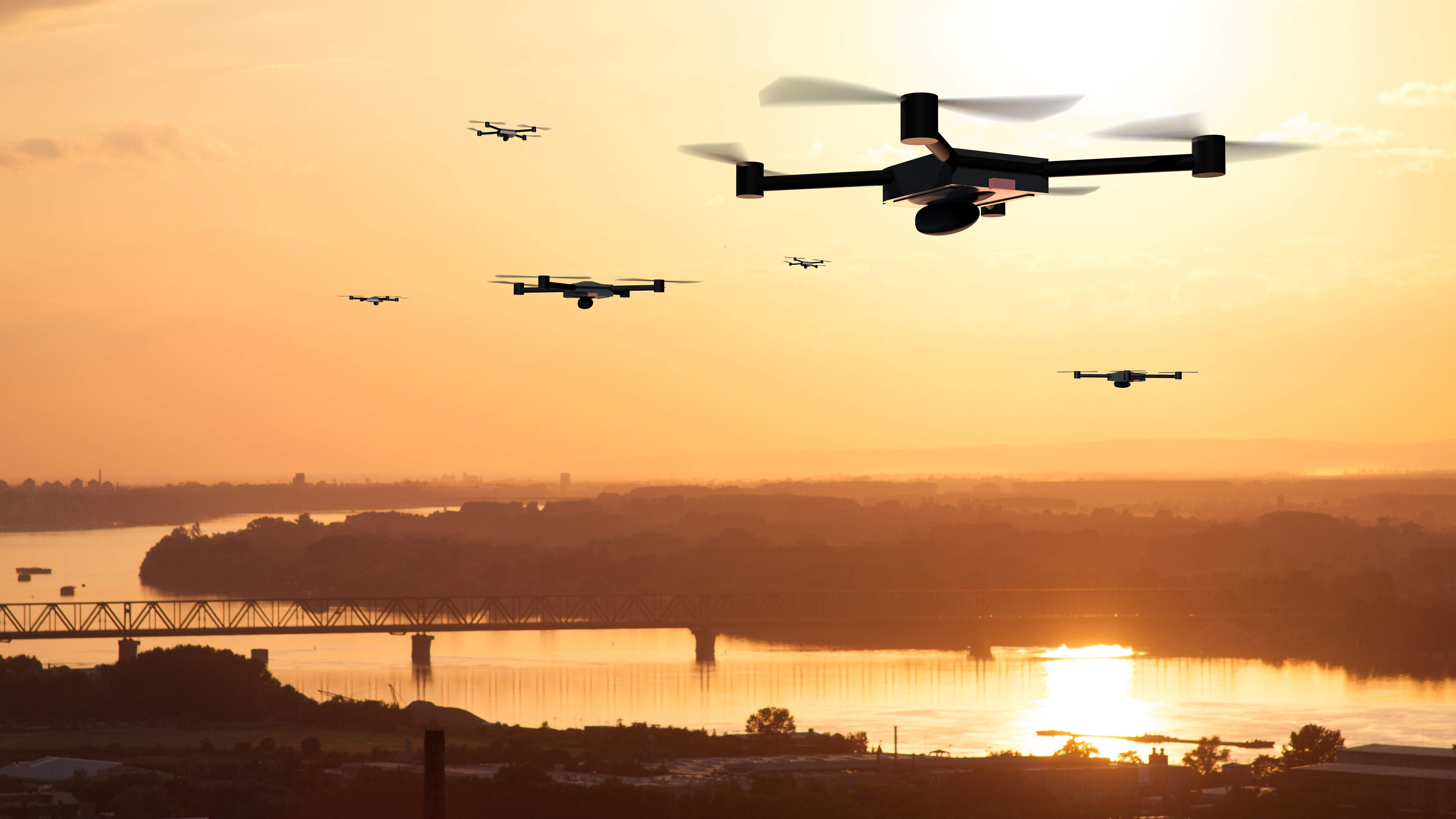 Drones in Sunset